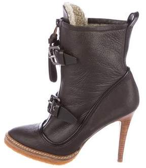 Barbara Bui Shearling-Trimmed Leather Boots