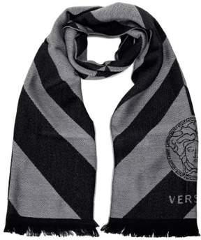 Versace Basic Medusa Diagonal Line Scarves Black-Grey