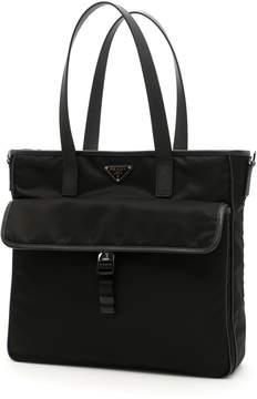 Prada Nylon And Saffiano Tote Bag