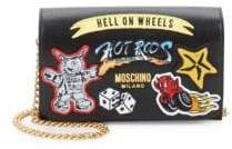 Moschino Patched Leather Chain Wallet