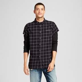 Jackson Men's Long Sleeve Cutoff Layered Button-Down Shirt Black