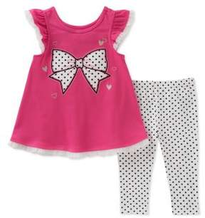 Kids Headquarters Little Girl's Two-Piece Ribbon Tunic and Pants Set