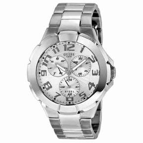 GUESS Men's Rush Silver-tone Case and Bracelet Watch I90199G1