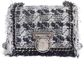 Balmain Metallic Tweed & Leather Box Shoulder Bag