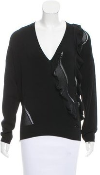 Cédric Charlier Ruffle-Trimmed Long Sleeve Sweater w/ Tags
