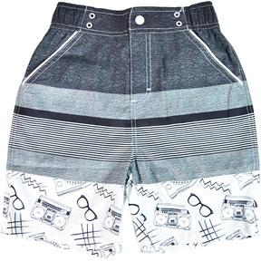 Andy & Evan Boys' 80'S Black & White Stripe Swimsuit