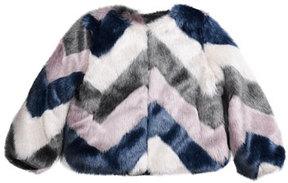 Imoga Greta Chevron Faux-Fur Jacket, Multi, Size 8-14