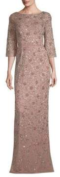 Aidan Mattox Beaded Three-Quarter-Sleeve Gown