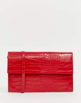 French Connection Laurie patent snakeskin handbag