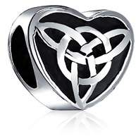 Celtic Bling Jewelry Oxidized Knot Charm 925 Sterling Silver Triquetra Heart Charm Bead For Bracelet.