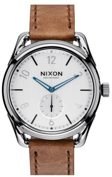 Nixon 'The C39' Leather Strap Watch, 39Mm
