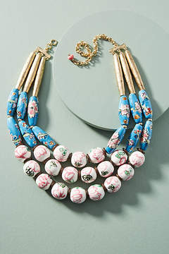 Anthropologie Painted Beads Bib Necklace