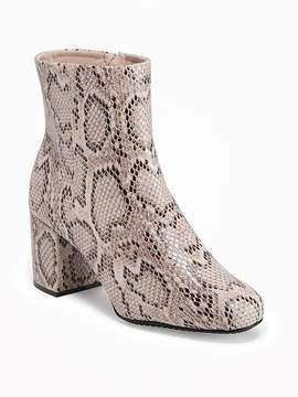 Old Navy Snakeskin-Print Ankle Boots for Women