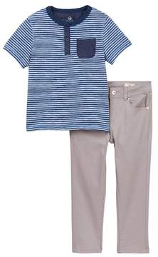 AG Jeans 2-Piece Striped Jersey Henley Set (Toddler Boys)