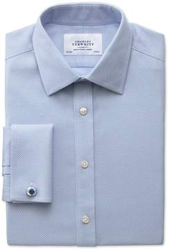 Charles Tyrwhitt Slim Fit Non-Iron Honeycomb Sky Blue Cotton Dress Shirt French Cuff Size 16/38
