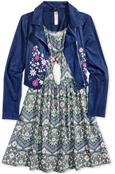 Beautees 2-Pc. Embroidered Jacket & Dress Set With Coordinating Necklace, Big Girls (7-16)