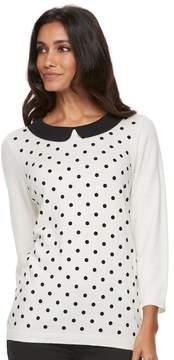 Elle Women's ElleTM Polka-Dot Crewneck Sweater