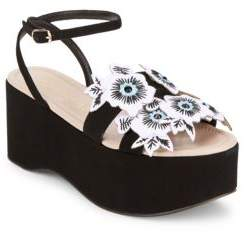 Aperlaï Floral Applique Leather Sandals