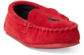 Ralph Lauren Desmond Suede Moccasin Slipper Red 5