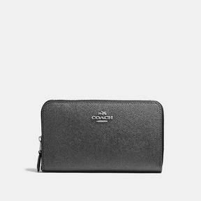 COACH Coach Medium Zip Around Wallet - SILVER/METALLIC GRAPHITE - STYLE
