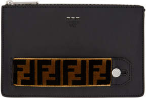 Fendi Black and Brown Tapestry Signature Clutch
