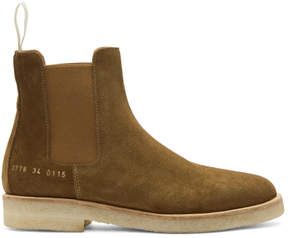 Common Projects Woman by Tan Suede Chelsea Boots