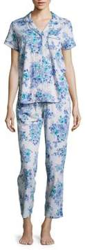 Karen Neuburger Floral Short Sleeve Top and Pants Pajama Set