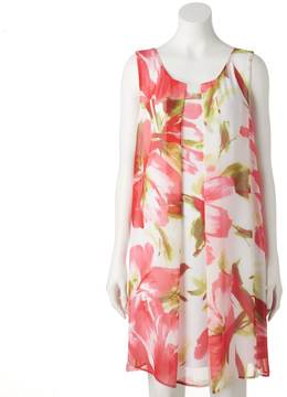 Connected Apparel Women's Pleated Floral Shift Dress