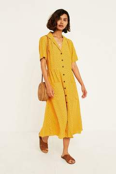 UO Dotted Midi Shirt Dress