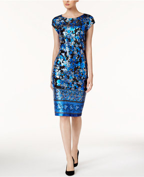 ECI Metallic Midi Sheath Dress