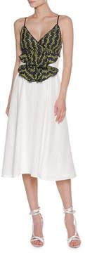 Francesco Scognamiglio Floral Vine Sleeveless Midi Dress, White