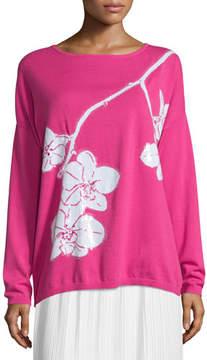 Joan Vass Sequined Orchid Intarsia Sweater, Petite