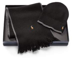 Ralph Lauren Merino Hat & Scarf Gift Set Black/Windsor Hthr One Size