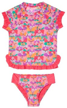 Hula Star Toddler Girl's Butterfly Cutie Two-Piece Rashguard Swimsuit