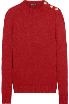 Balmain Button-embellished Knitted Sweater - Red