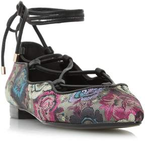 Dune London HARIANA - MULTI Tapestry Ghillie Lace Flat Shoe