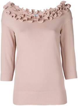 Blumarine frilled neck knitted top