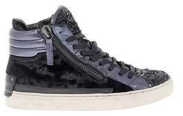 Crime London Women's Blue/black Leather Hi Top Sneakers.