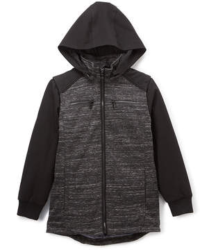 Urban Republic Black Melange Hooded Lined Zip-Up Jacket - Boys