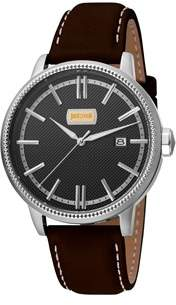 Just Cavalli Mens Dark Brown Leather Strap Watch With Silver Dial.