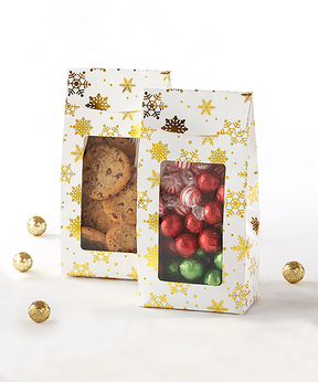 Gold Foil Snowflake Holiday Treat Bag - Set of 12