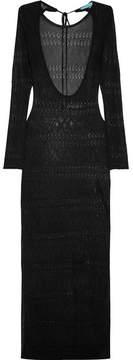 Melissa Odabash Melissa Open-back Pointelle-knit Maxi Dress - Black