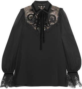 Elie Saab Velvet-appliquéd Lace-trimmed Chiffon Blouse - Black