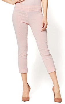 New York & Co. 7th Avenue Pant - Pull-On Crop - Legging - Coral Stripe