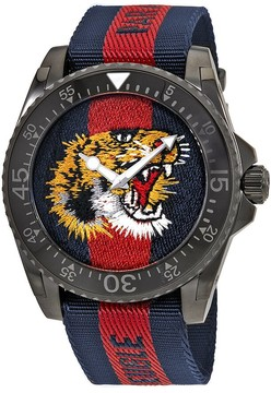 Gucci Dive Tiger Embroidered Dial Men's Watch