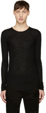 Balmain Black Long Sleeve Ribbed T-Shirt