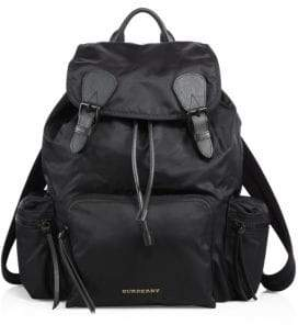 Burberry Leather Trimmed Large Rucksack