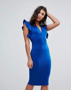 Club L V Neck Ruffle Bodycon Dress