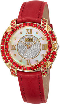 Burgi Womens Red Crystal-Accent Red Leather Strap Watch