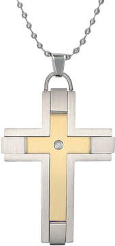 JCPenney FINE JEWELRY Mens Diamond-Accent Two-Tone Stainless Steel Cross Pendant Necklace